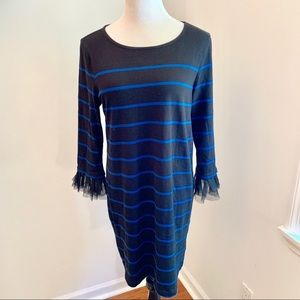 BeachLunchLounge Striped Dress Tulle Cuffs Sz L